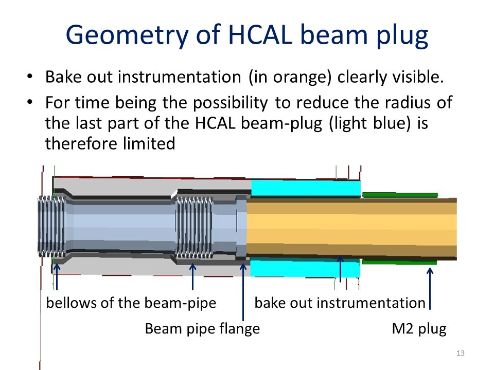 Geometry of HCAL beam plug bellows of the beam-pipe bake out instrumentation Beam pipe flange M2 plug 13 Bake out instrumentation (in orange) clearly visible.