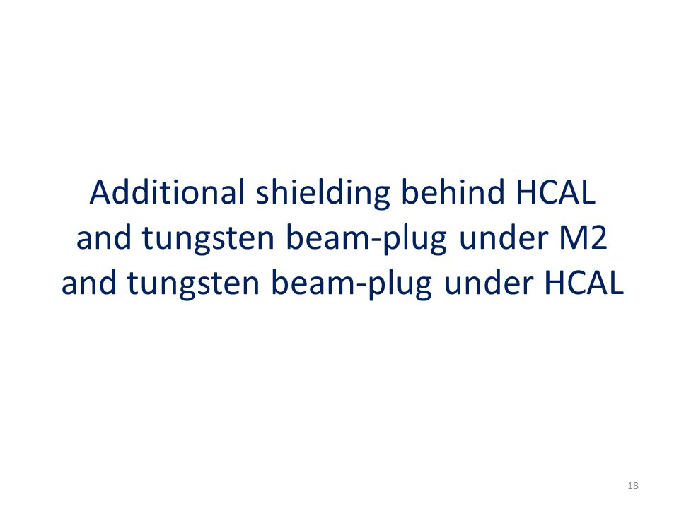 Additional shielding behind HCAL and tungsten beam-plug under M2 and tungsten beam-plug under HCAL 18