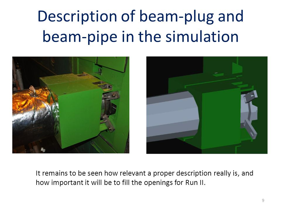 Description of beam-plug and beam-pipe in the simulation It remains to be seen how relevant a proper description really is, and how important it will be to fill the openings for Run II.