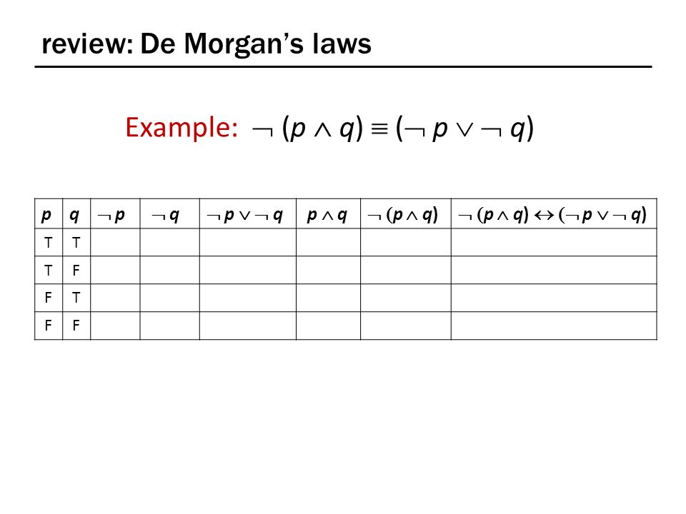 review: De Morgan's laws pq  p p  q  q  p   q p  q  p  q)  p  q)  p   q) TT TF FT FF Example:  (p  q)  (  p   q)