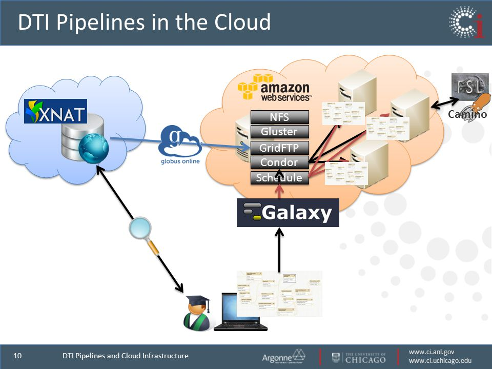 www.ci.anl.gov www.ci.uchicago.edu 10 DTI Pipelines in the Cloud DTI Pipelines and Cloud Infrastructure Gluster GridFTP Condor NFS Schedule Camino
