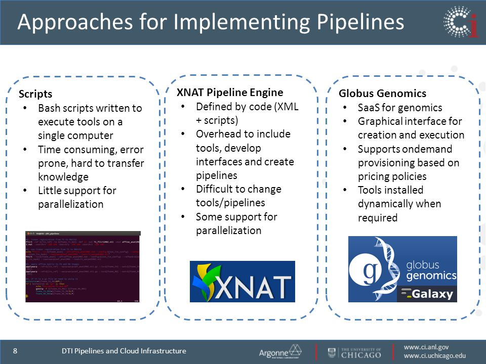 www.ci.anl.gov www.ci.uchicago.edu 8 Globus Genomics SaaS for genomics Graphical interface for creation and execution Supports ondemand provisioning based on pricing policies Tools installed dynamically when required XNAT Pipeline Engine Defined by code (XML + scripts) Overhead to include tools, develop interfaces and create pipelines Difficult to change tools/pipelines Some support for parallelization Scripts Bash scripts written to execute tools on a single computer Time consuming, error prone, hard to transfer knowledge Little support for parallelization Approaches for Implementing Pipelines DTI Pipelines and Cloud Infrastructure