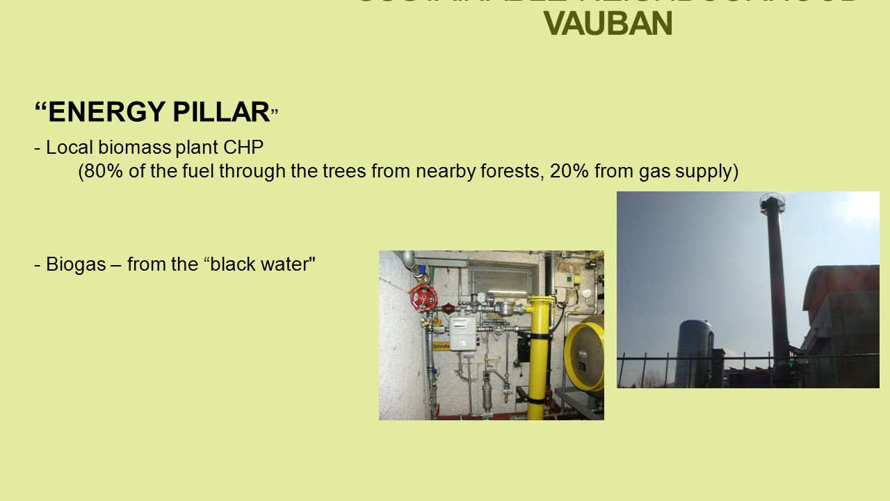 - Local biomass plant CHP (80% of the fuel through the trees from nearby forests, 20% from gas supply) - Biogas – from the black water ENERGY PILLAR SUSTAINABLE NEIGHBOURHOOD VAUBAN