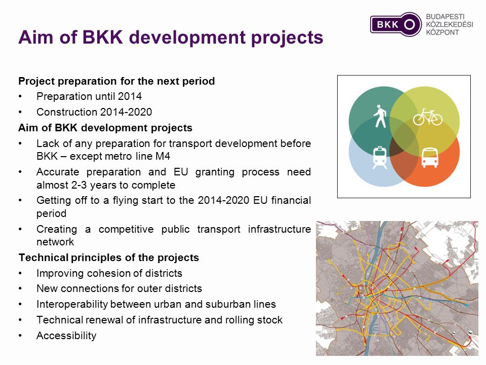 Aim of BKK development projects Project preparation for the next period Preparation until 2014 Construction 2014-2020 Aim of BKK development projects Lack of any preparation for transport development before BKK – except metro line M4 Accurate preparation and EU granting process need almost 2-3 years to complete Getting off to a flying start to the 2014-2020 EU financial period Creating a competitive public transport infrastructure network Technical principles of the projects Improving cohesion of districts New connections for outer districts Interoperability between urban and suburban lines Technical renewal of infrastructure and rolling stock Accessibility