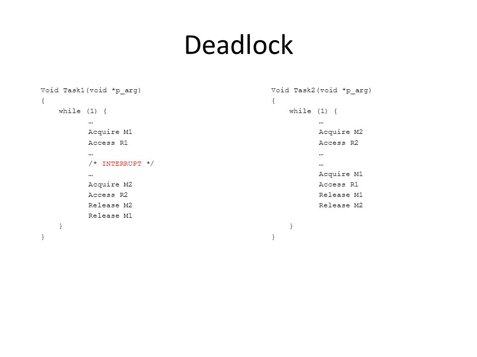 Deadlock Void Task1(void *p_arg) { while (1) { … Acquire M1 Access R1 … /* INTERRUPT */ … Acquire M2 Access R2 Release M2 Release M1 } Void Task2(void *p_arg) { while (1) { … Acquire M2 Access R2 … Acquire M1 Access R1 Release M1 Release M2 }