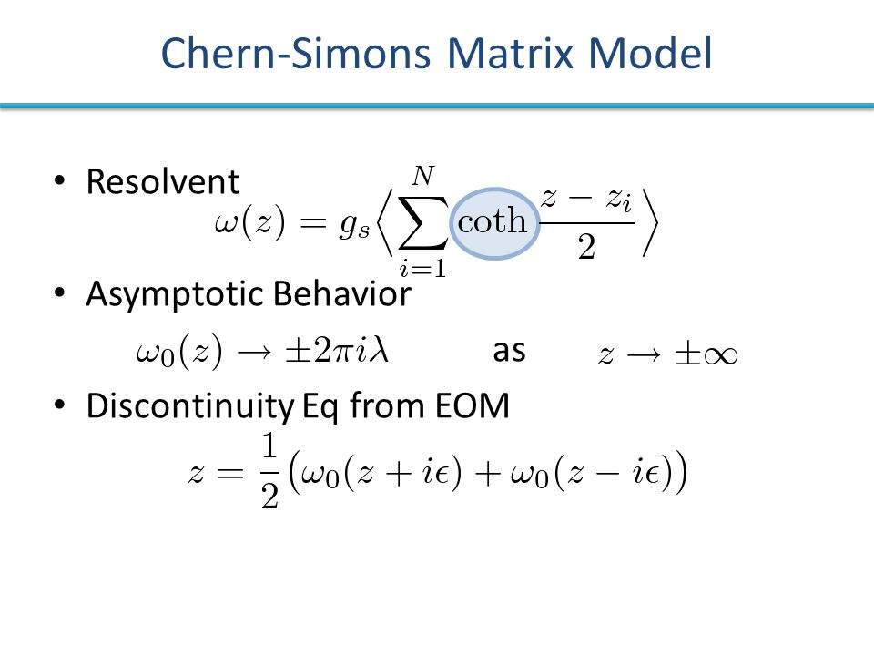 Resolvent Asymptotic Behavior as Discontinuity Eq from EOM