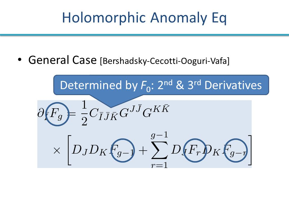 Holomorphic Anomaly Eq General Case [Bershadsky-Cecotti-Ooguri-Vafa] Determined by F 0 : 2 nd & 3 rd Derivatives