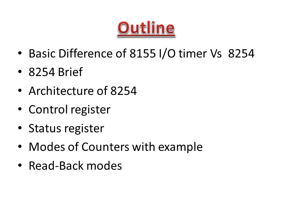 Basic Difference of 8155 I/O timer Vs Brief Architecture of 8254 Control register Status register Modes of Counters with example Read-Back modes