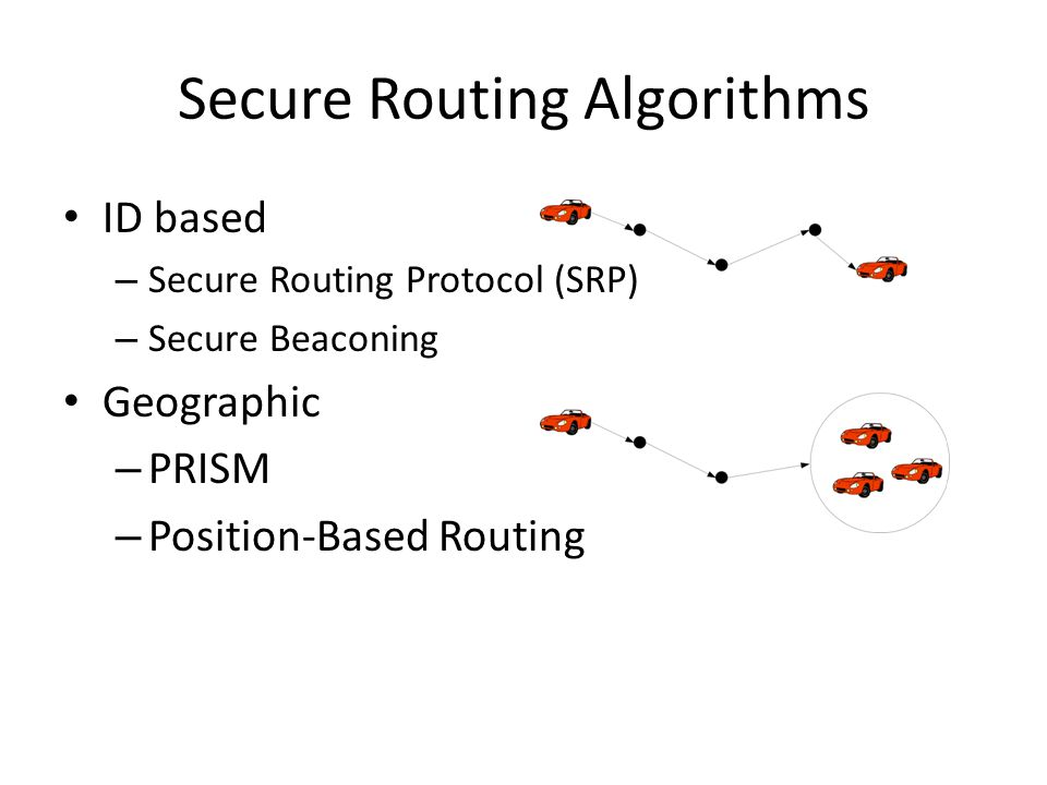 Secure Routing Algorithms ID based – Secure Routing Protocol (SRP) – Secure Beaconing Geographic – PRISM – Position-Based Routing