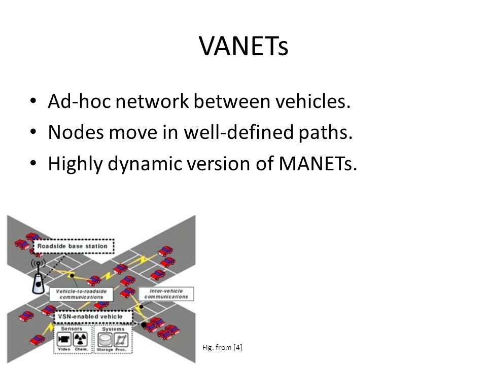VANETs Ad-hoc network between vehicles. Nodes move in well-defined paths.