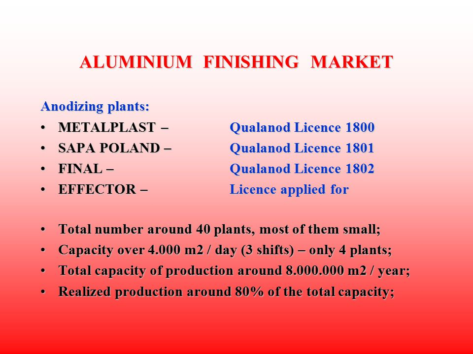 ALUMINIUM FINISHING MARKET Powder coating plants (cont.) Total number around 1.000 plants, all horizontal, most of them quite small;Total number around 1.000 plants, all horizontal, most of them quite small; More than 70 % of plants work mostly steel, it leaves 300 plants coating aluminium;More than 70 % of plants work mostly steel, it leaves 300 plants coating aluminium; Capacity over 4.000 m2 / day (3 shifts) – only 10 plants;Capacity over 4.000 m2 / day (3 shifts) – only 10 plants; Total capacity of production – around 20.000.000 m2 / year;Total capacity of production – around 20.000.000 m2 / year; Realized production – around 60 % of the total capacity;Realized production – around 60 % of the total capacity; Unfortunately a lot of small manufacturers still without chemical pretreatment of aluminium !!!Unfortunately a lot of small manufacturers still without chemical pretreatment of aluminium !!!