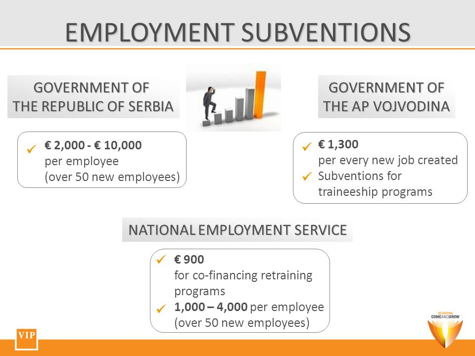 EMPLOYMENT SUBVENTIONS NATIONAL EMPLOYMENT SERVICE GOVERNMENT OF THE AP VOJVODINA GOVERNMENT OF THE REPUBLIC OF SERBIA € 2,000 - € 10,000 per employee (over 50 new employees) € 1,300 per every new job created Subventions for traineeship programs € 900 for co-financing retraining programs 1,000 – 4,000 per employee (over 50 new employees)
