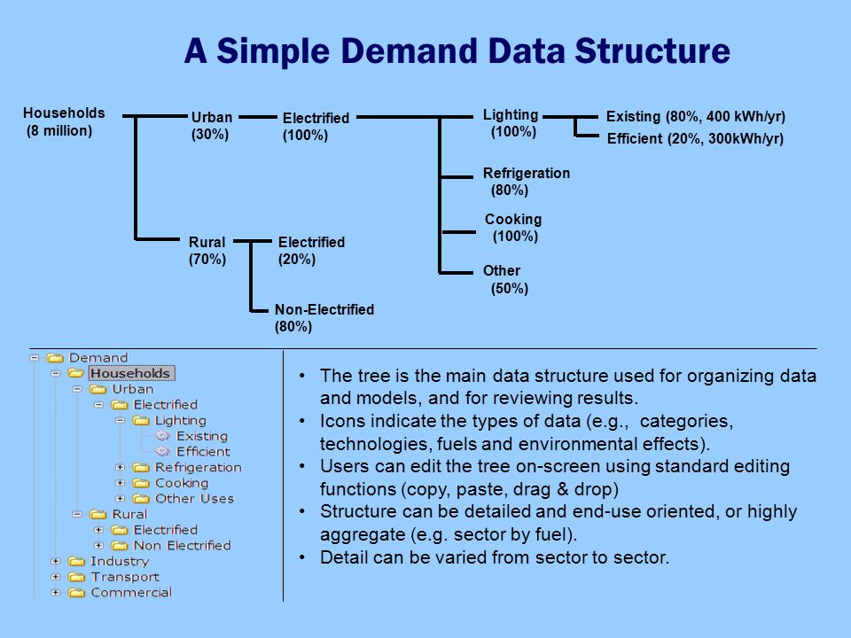 A Simple Demand Data Structure Households (8 million) Cooking (100%) Refrigeration (80%) Lighting (100%) Existing (80%, 400 kWh/yr) Urban (30%) Rural (70%) Efficient (20%, 300kWh/yr) Other (50%) Electrified (100%) Electrified (20%) Non-Electrified (80%) The tree is the main data structure used for organizing data and models, and for reviewing results.