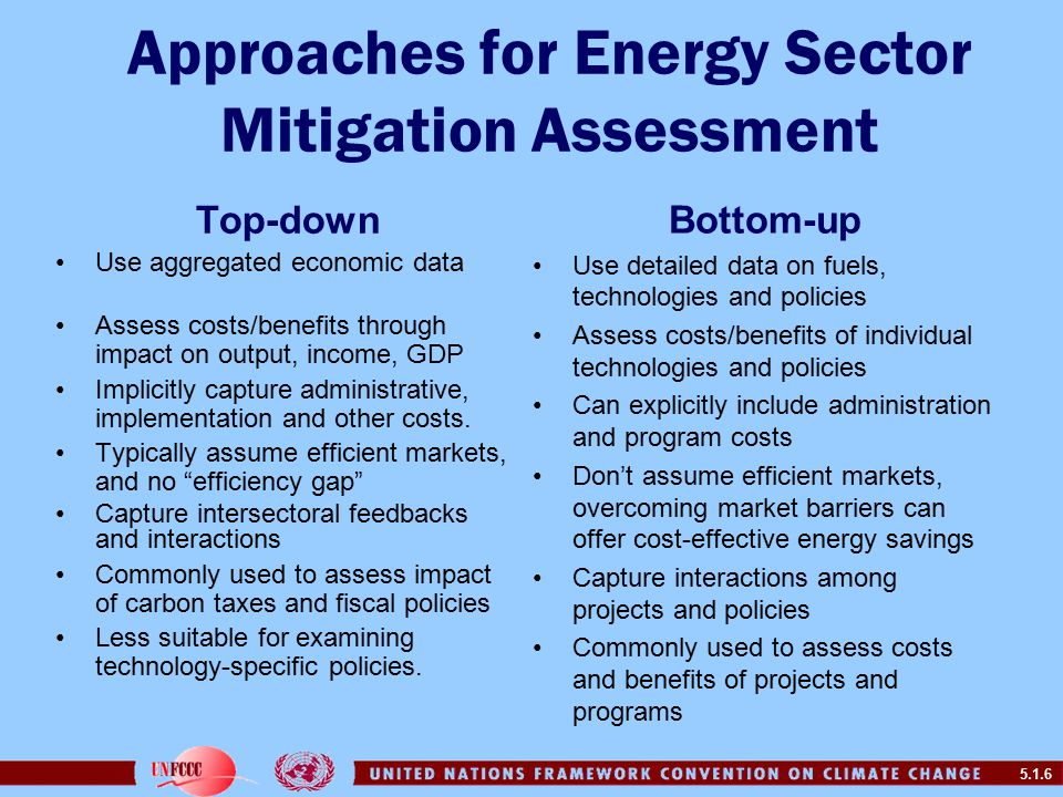 5.1.6 Approaches for Energy Sector Mitigation Assessment Top-down Use aggregated economic data Assess costs/benefits through impact on output, income, GDP Implicitly capture administrative, implementation and other costs.