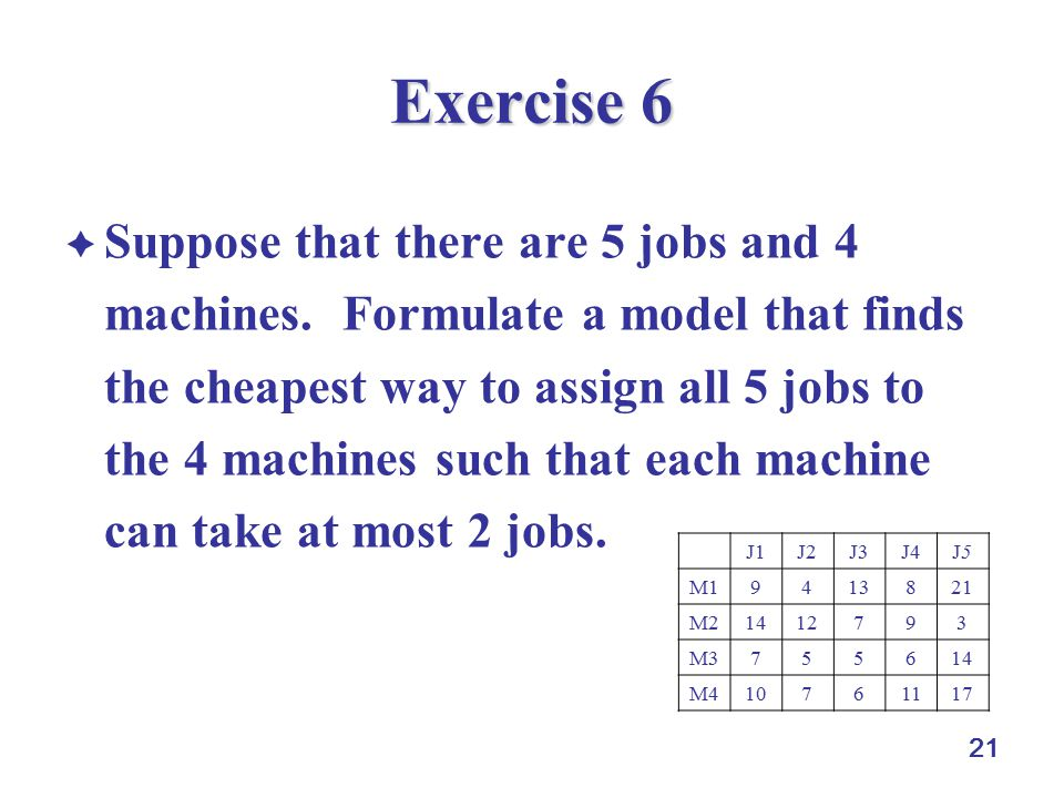 21 Exercise 6  Suppose that there are 5 jobs and 4 machines.