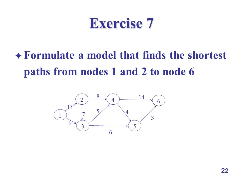 22 Exercise 7  Formulate a model that finds the shortest paths from nodes 1 and 2 to node 6 4 5 7 8 9 11 1 2 4 3 5 6 6 3 14