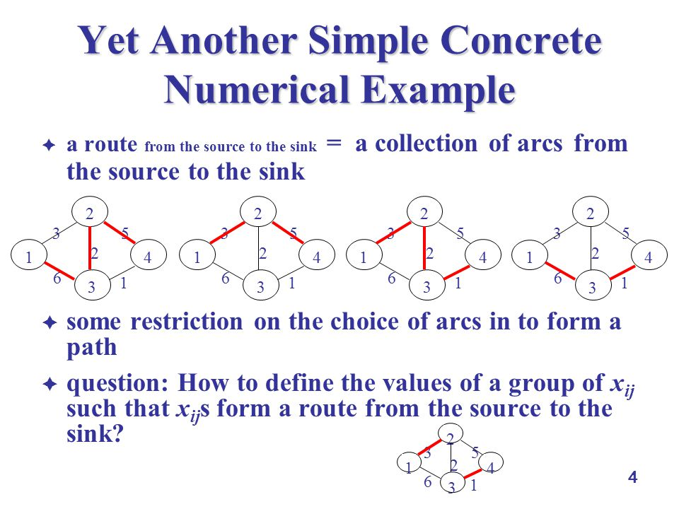 4 Yet Another Simple Concrete Numerical Example  a route from the source to the sink = a collection of arcs from the source to the sink  some restriction on the choice of arcs in to form a path  question: How to define the values of a group of x ij such that x ij s form a route from the source to the sink.