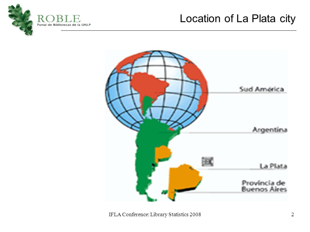 IFLA Conference: Library Statistics 20082 Location of La Plata city