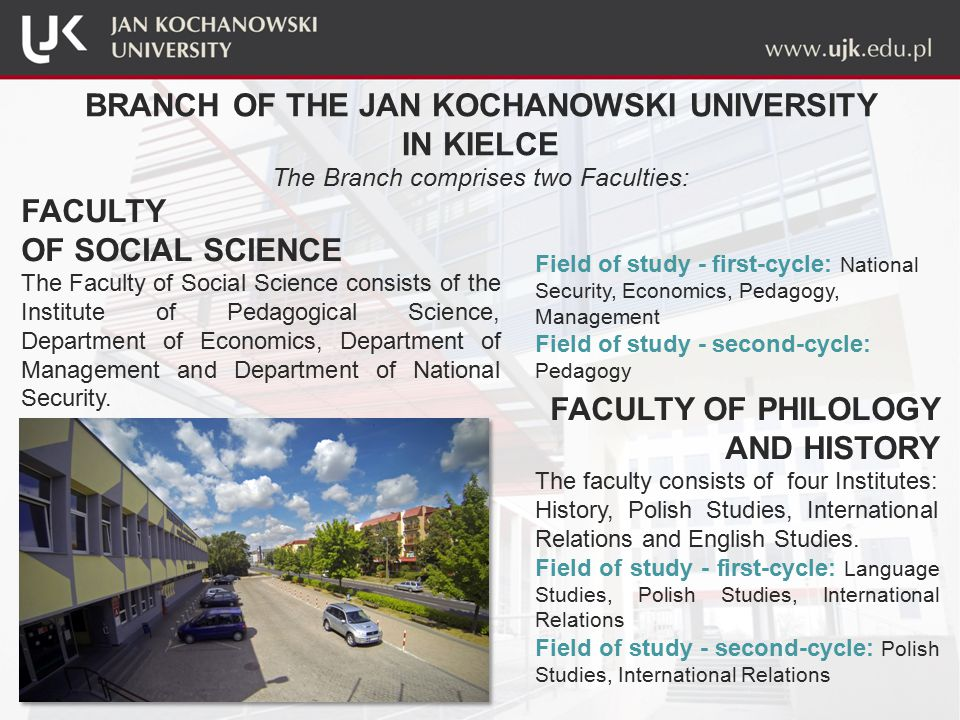 BRANCH OF THE JAN KOCHANOWSKI UNIVERSITY IN KIELCE The Branch comprises two Faculties: FACULTY OF SOCIAL SCIENCE The Faculty of Social Science consists of the Institute of Pedagogical Science, Department of Economics, Department of Management and Department of National Security.