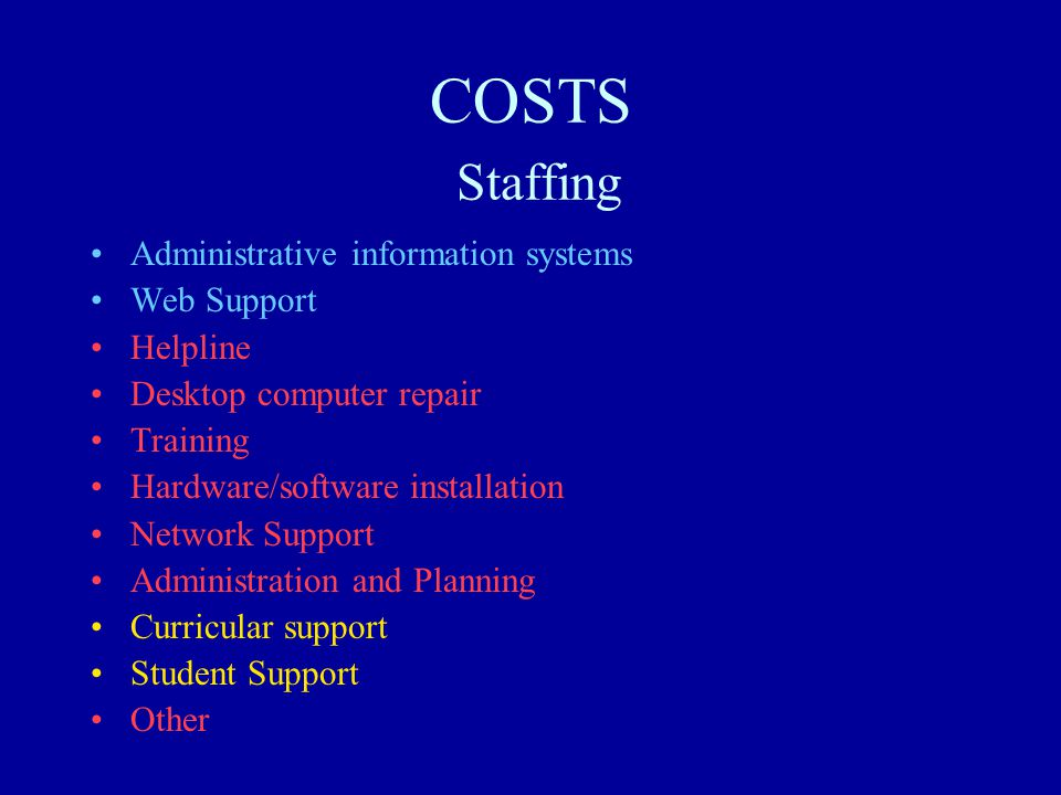 COSTS Staffing Administrative information systems Web Support Helpline Desktop computer repair Training Hardware/software installation Network Support Administration and Planning Curricular support Student Support Other