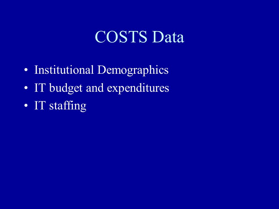 COSTS Data Institutional Demographics IT budget and expenditures IT staffing