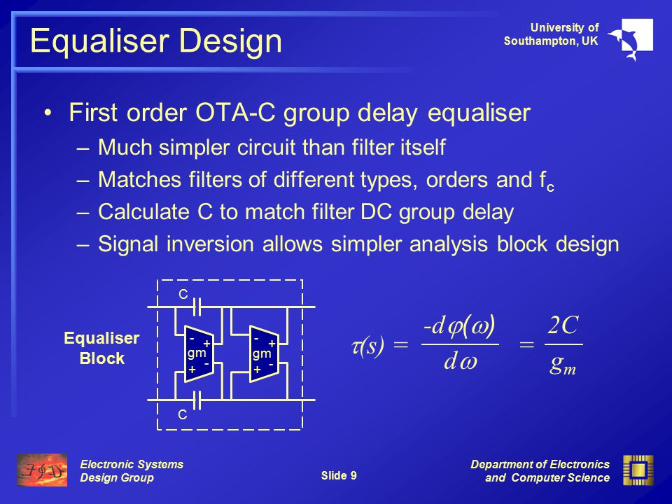 Electronic Systems Design Group University of Southampton, UK Department of Electronics and Computer Science Slide 9 Equaliser Design First order OTA-C group delay equaliser –Much simpler circuit than filter itself –Matches filters of different types, orders and f c –Calculate C to match filter DC group delay –Signal inversion allows simpler analysis block design  (s) = = -d  (  ) dd 2C gmgm - - + + - - + + gm C C Equaliser Block