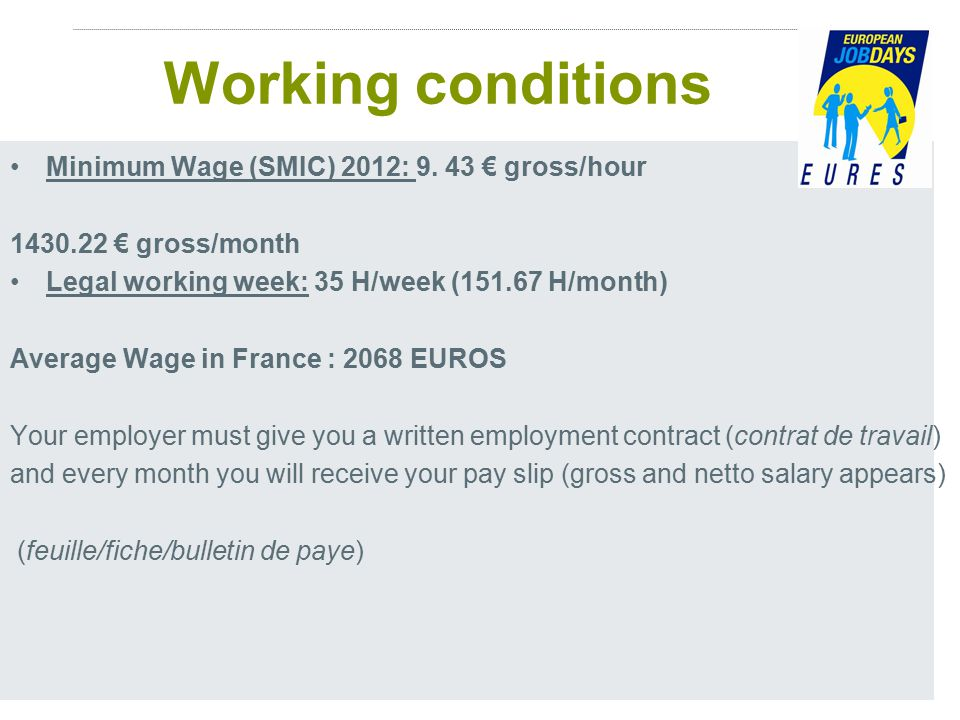 15 Working conditions Minimum Wage (SMIC) 2012: 9.