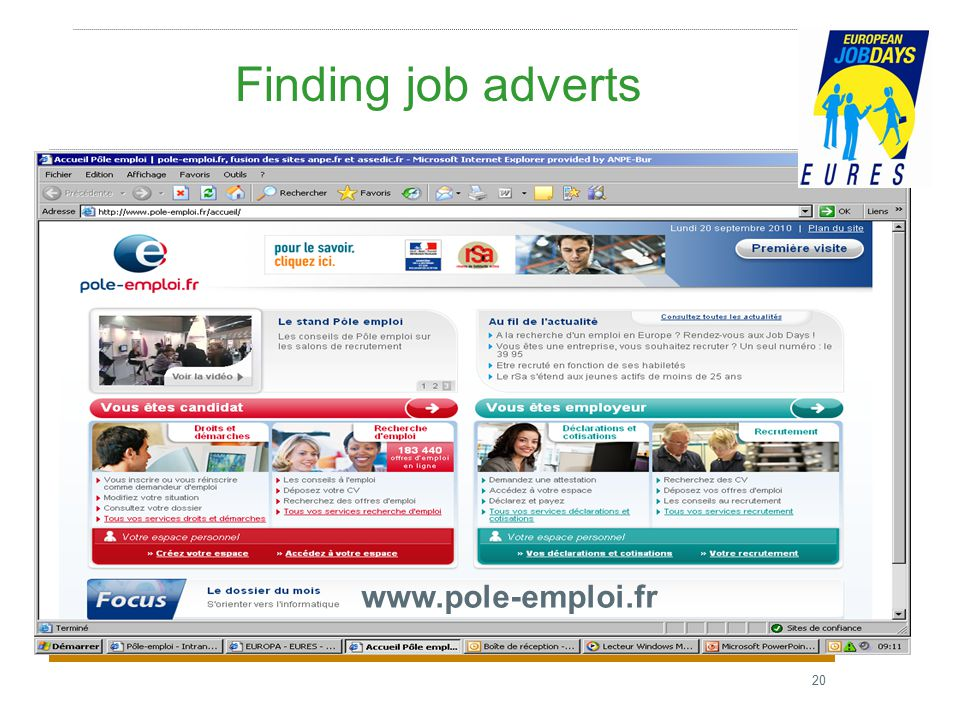 20 Finding job adverts www.pole-emploi.fr