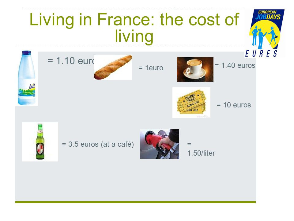 Living in France: the cost of living = 1.10 euro = 1euro = 1.40 euros = 10 euros = 3.5 euros (at a café)= 1.50/liter