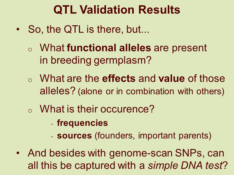 QTL Validation Results So, the QTL is there, but...