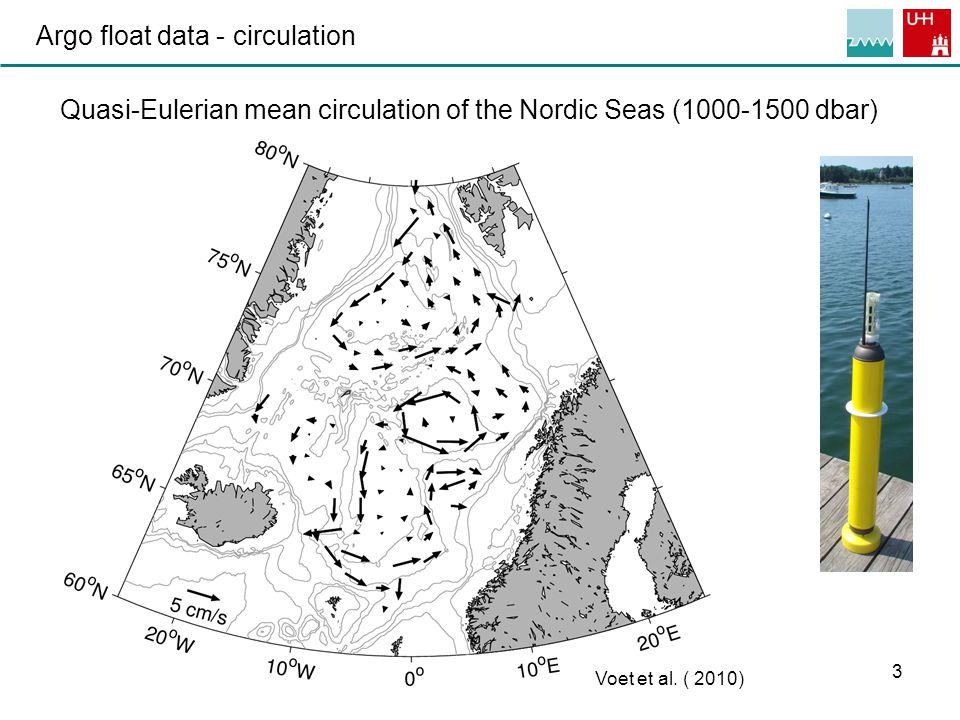 3 Argo float data - circulation Quasi-Eulerian mean circulation of the Nordic Seas (1000-1500 dbar) Voet et al.