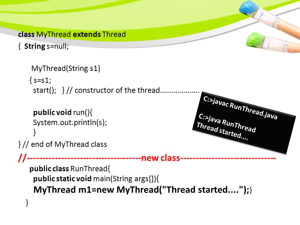 Method Return Type Description currentThread( ) Thread Returns an object reference to the thread in which it is invoked.