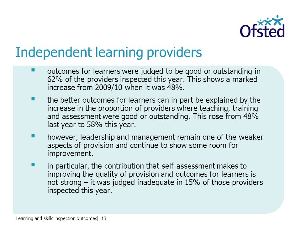 Learning and skills inspection outcomes| 13 Independent learning providers  outcomes for learners were judged to be good or outstanding in 62% of the providers inspected this year.