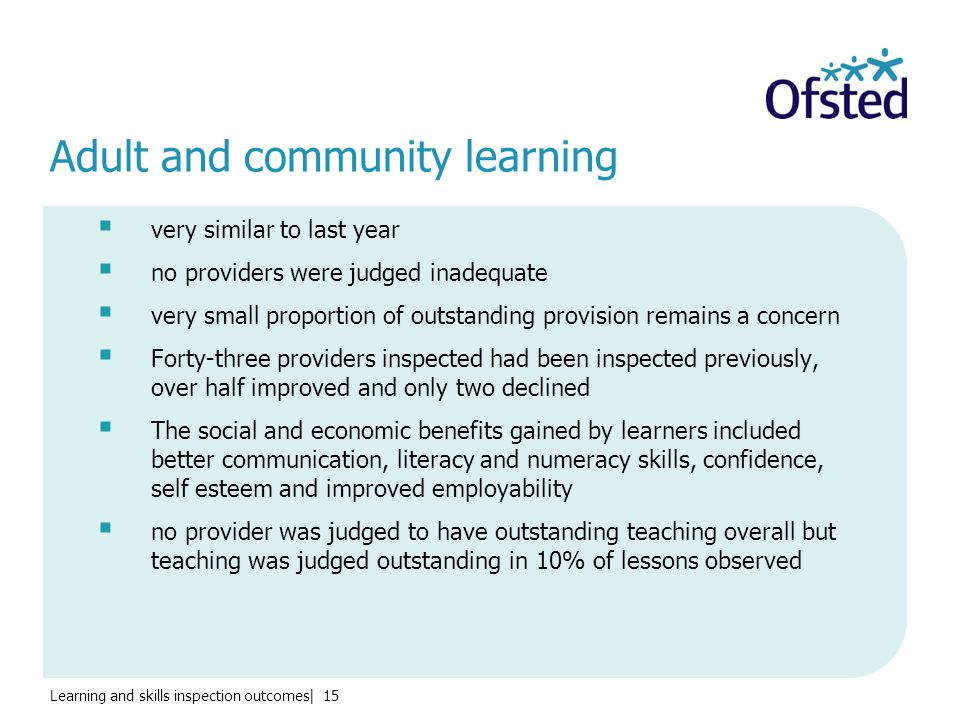 Learning and skills inspection outcomes| 15 Adult and community learning  very similar to last year  no providers were judged inadequate  very small proportion of outstanding provision remains a concern  Forty-three providers inspected had been inspected previously, over half improved and only two declined  The social and economic benefits gained by learners included better communication, literacy and numeracy skills, confidence, self esteem and improved employability  no provider was judged to have outstanding teaching overall but teaching was judged outstanding in 10% of lessons observed