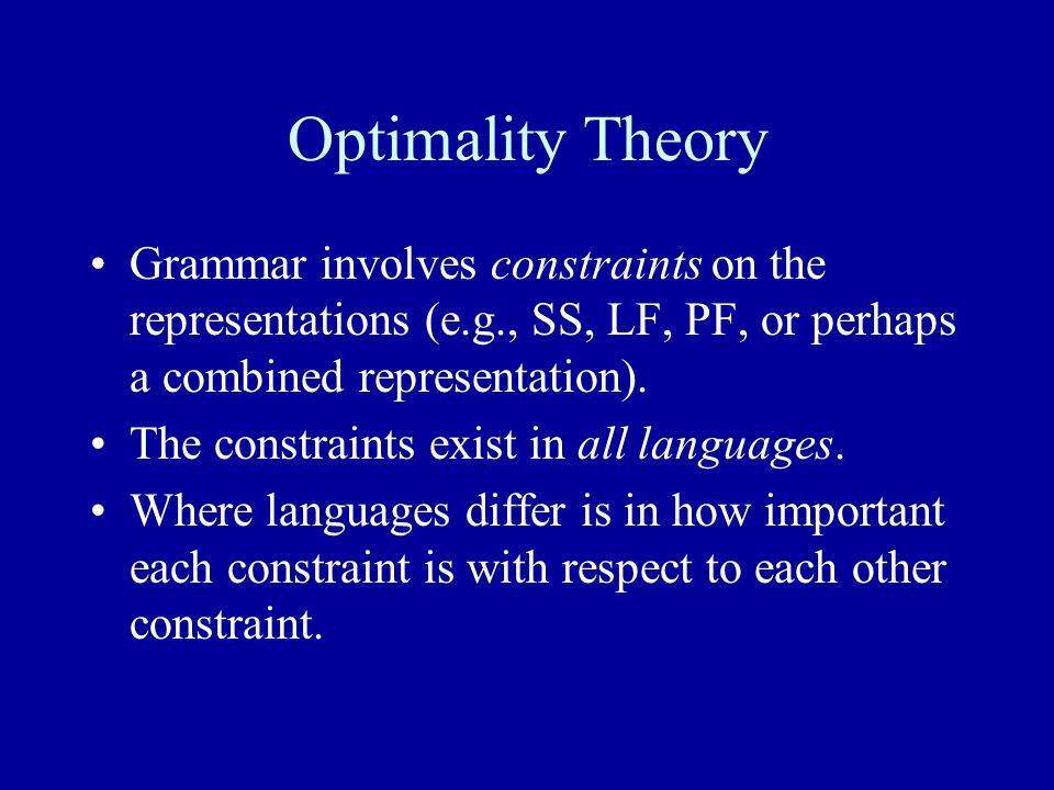 Optimality Theory Grammar involves constraints on the representations (e.g., SS, LF, PF, or perhaps a combined representation).