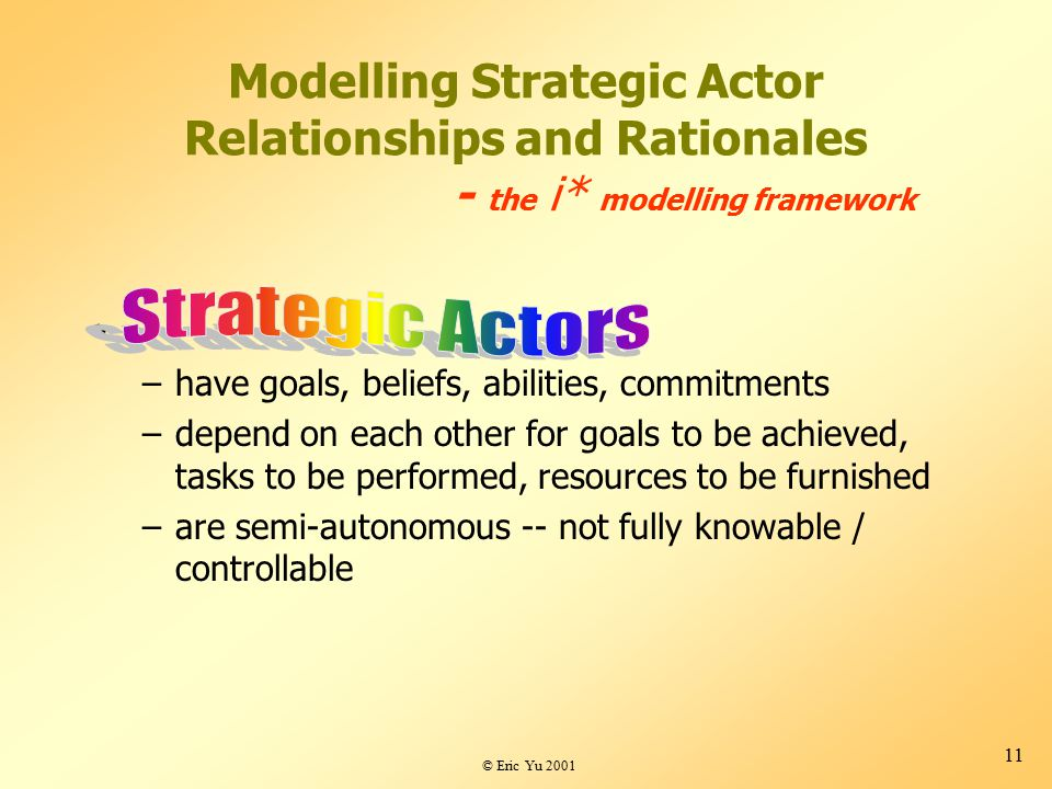 © Eric Yu 2001 11 Modelling Strategic Actor Relationships and Rationales - the i* modelling framework –have goals, beliefs, abilities, commitments –depend on each other for goals to be achieved, tasks to be performed, resources to be furnished –are semi-autonomous -- not fully knowable / controllable