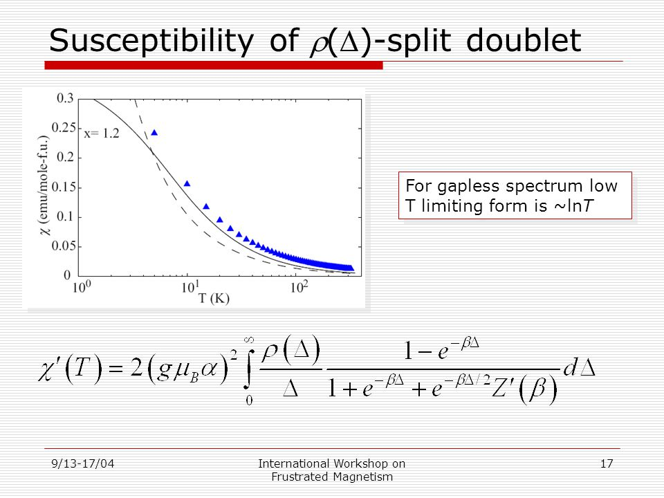 9/13-17/04International Workshop on Frustrated Magnetism 17 Susceptibility of ()-split doublet For gapless spectrum low T limiting form is ~lnT For gapless spectrum low T limiting form is ~lnT