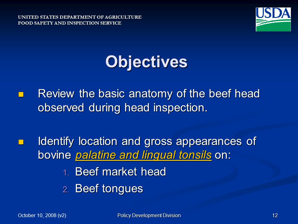 UNITED STATES DEPARTMENT OF AGRICULTURE FOOD SAFETY AND INSPECTION SERVICE October 10, 2008 (v2)12Policy Development Division Objectives Review the basic anatomy of the beef head observed during head inspection.