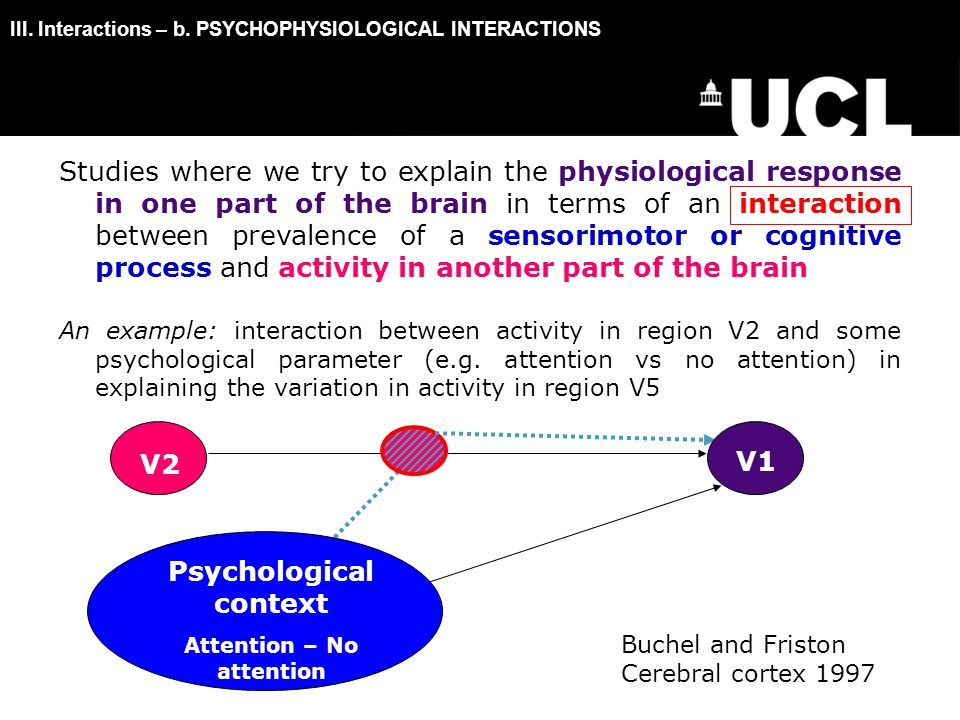Studies where we try to explain the physiological response in one part of the brain in terms of an interaction between prevalence of a sensorimotor or cognitive process and activity in another part of the brain An example: interaction between activity in region V2 and some psychological parameter (e.g.