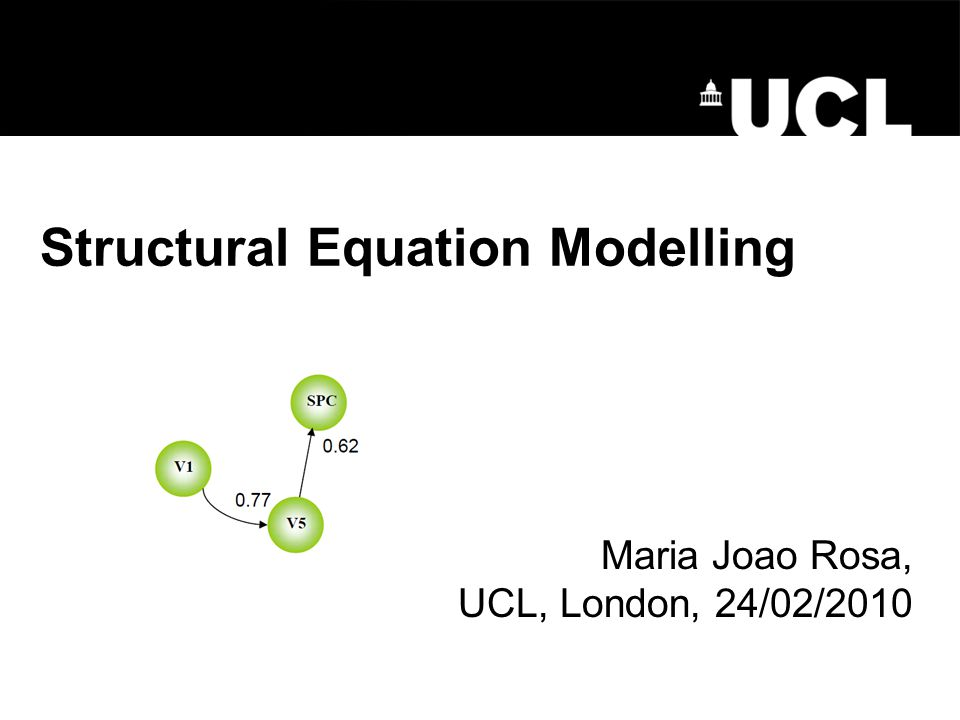 Structural Equation Modelling Maria Joao Rosa, UCL, London, 24/02/2010