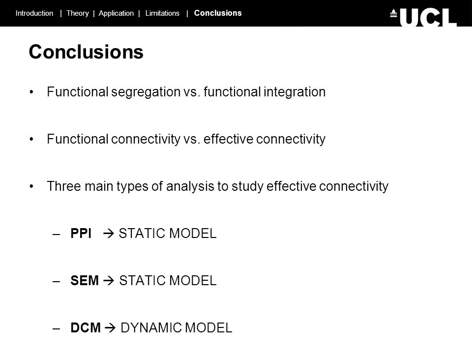 Introduction | Theory | Application | Limitations | Conclusions Conclusions Functional segregation vs.