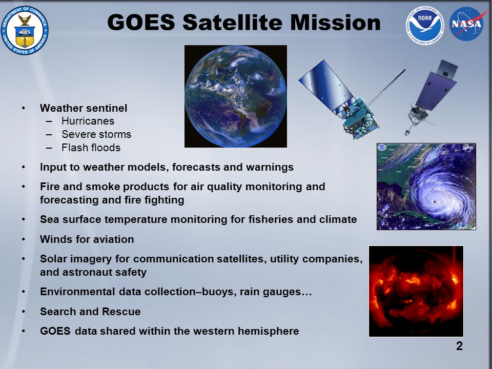 2 Weather sentinel –Hurricanes –Severe storms –Flash floods Input to weather models, forecasts and warnings Fire and smoke products for air quality monitoring and forecasting and fire fighting Sea surface temperature monitoring for fisheries and climate Winds for aviation Solar imagery for communication satellites, utility companies, and astronaut safety Environmental data collection–buoys, rain gauges… Search and Rescue GOES data shared within the western hemisphere GOES Satellite Mission