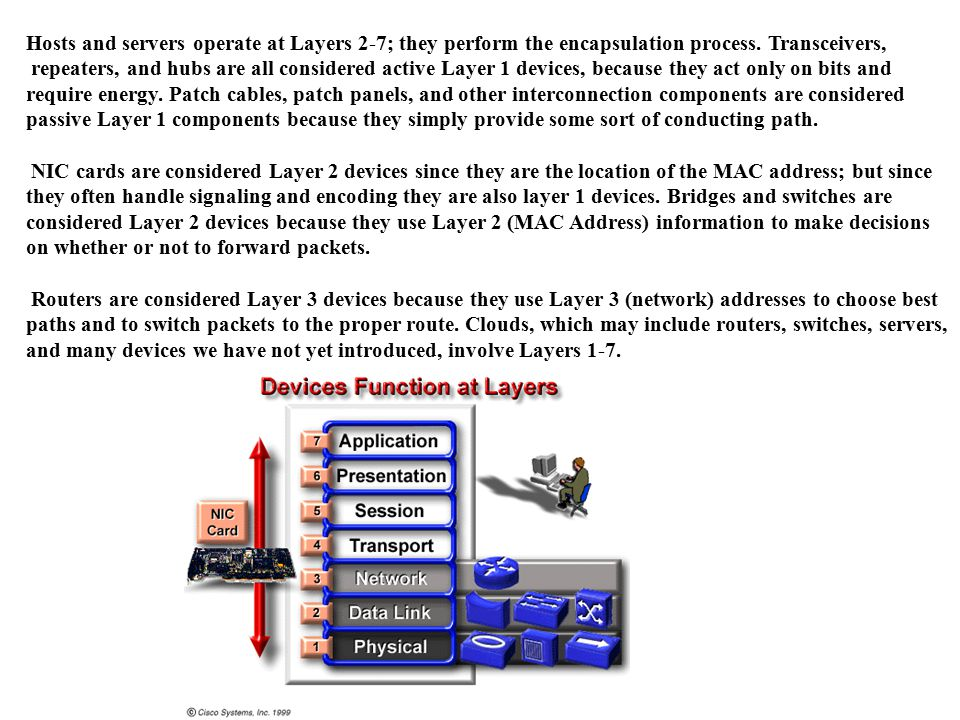 Hosts and servers operate at Layers 2-7; they perform the encapsulation process.