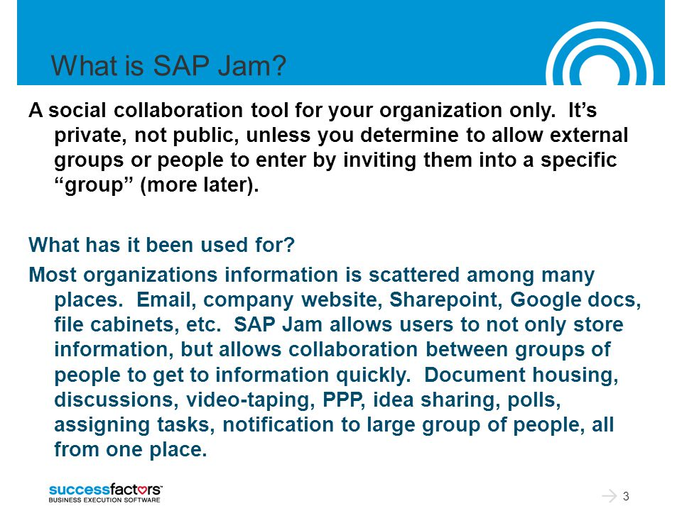 What is SAP Jam. A social collaboration tool for your organization only.