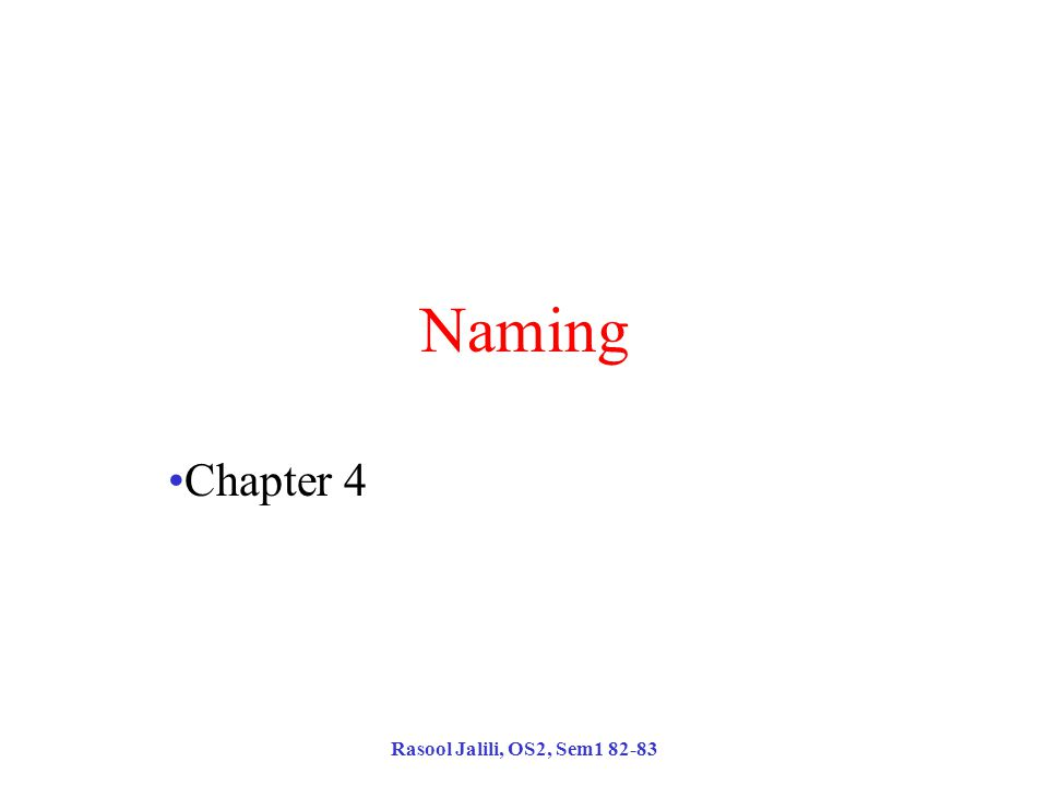 Rasool Jalili, OS2, Sem1 82-83 Naming Chapter 4
