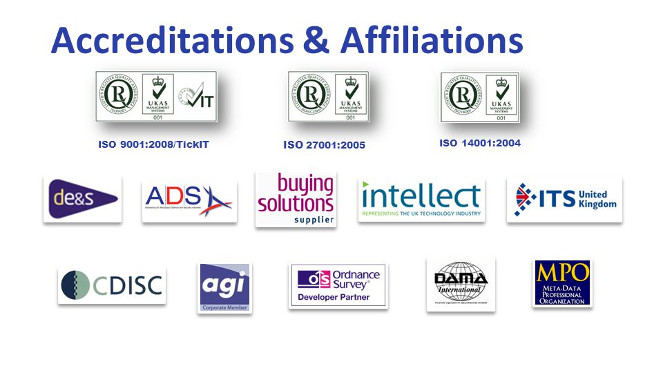 Accreditations & Affiliations ISO 9001:2008/TickIT ISO 27001:2005 ISO 14001:2004
