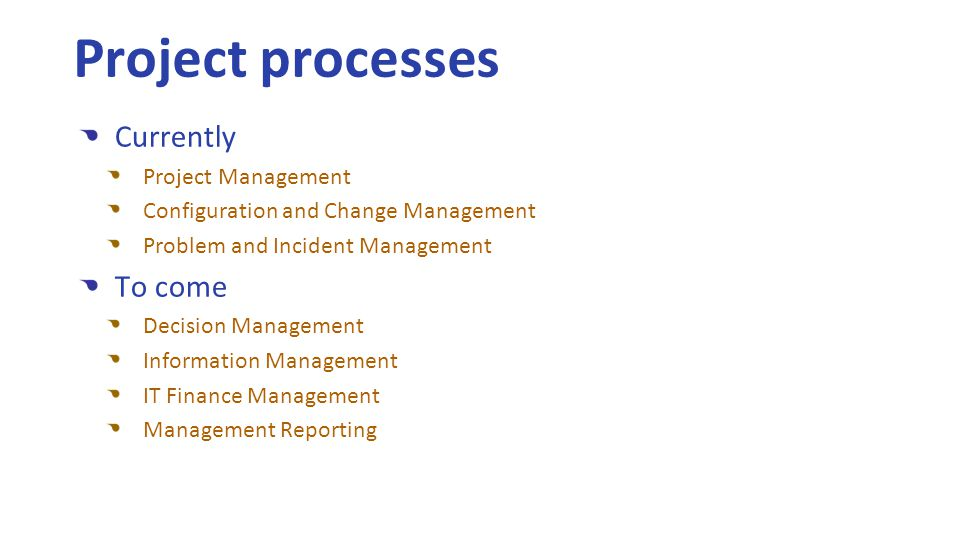 Currently Project Management Configuration and Change Management Problem and Incident Management To come Decision Management Information Management IT Finance Management Management Reporting Project processes