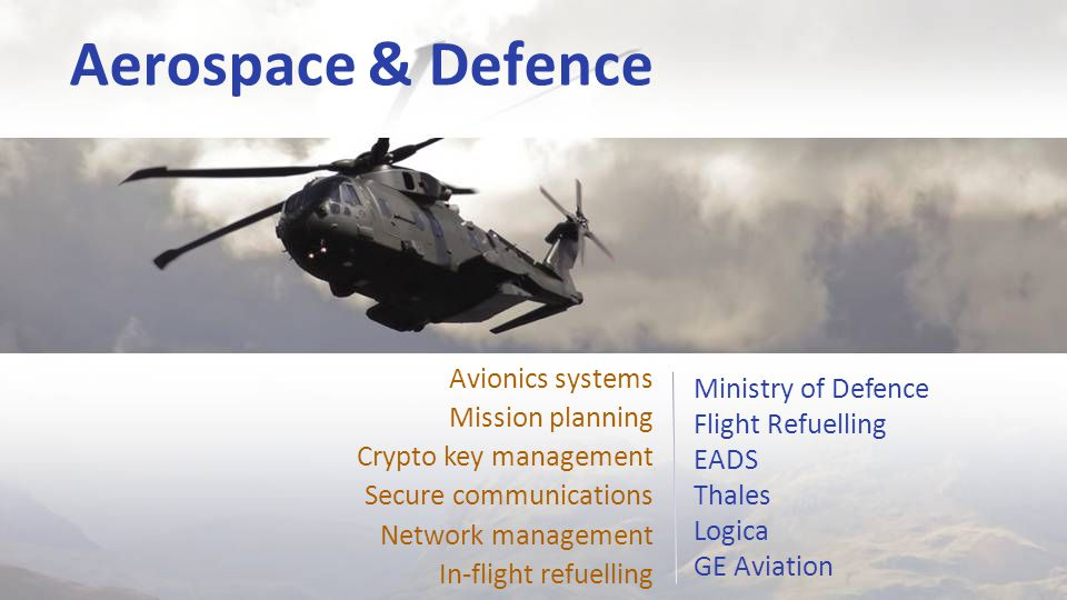 Aerospace & Defence Ministry of Defence Flight Refuelling EADS Thales Logica GE Aviation Avionics systems Mission planning Crypto key management Secure communications Network management In-flight refuelling