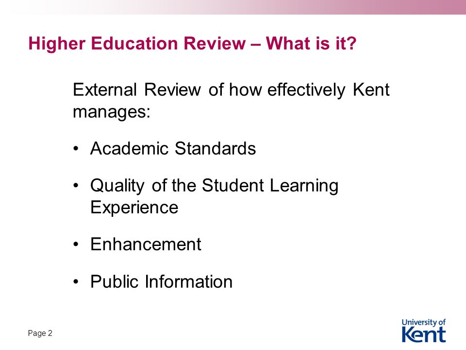 Higher Education Review – What is it.