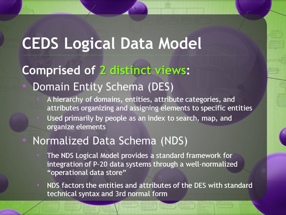 CEDS Logical Data Model 2 distinct views Comprised of 2 distinct views: Domain Entity Schema (DES) A hierarchy of domains, entities, attribute categories, and attributes organizing and assigning elements to specific entities Used primarily by people as an index to search, map, and organize elements Normalized Data Schema (NDS) The NDS Logical Model provides a standard framework for integration of P-20 data systems through a well-normalized operational data store NDS factors the entities and attributes of the DES with standard technical syntax and 3rd normal form